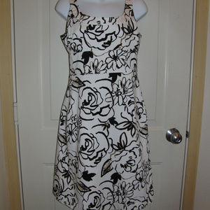 Black & White Abstract Floral Dress